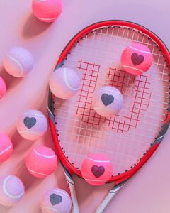 Heart Printed Tennis Balls Tubed